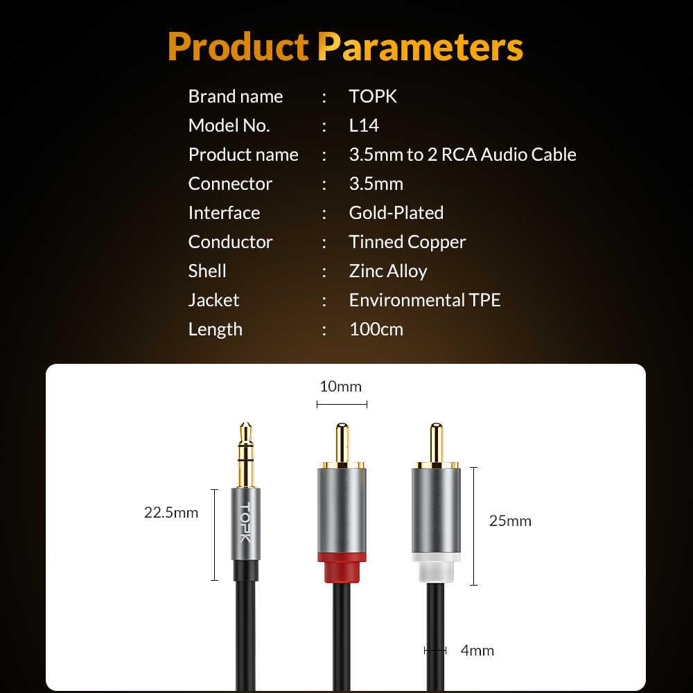 TOPK RCA кабель 2RCA до 3,5 аудио кабель 3,5 мм Jack адаптер AUX кабель для телефона Edifer домашний кинотеатр DVD VCD сабвуфер