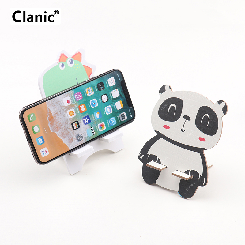 Universal Wood Cartoon Mobile Phone Holder Stand Cute Cat Dog Painting Desk Cell Phone Stand For Iphone X Xs Xiaomi Redmi Note