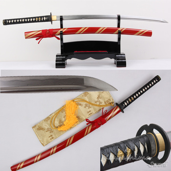 Musashi Samurai Sword Japanese Katana Imitated Damascus Steel Full Tang Sharpness Ready For Cutting Matt Straw-41 Inch