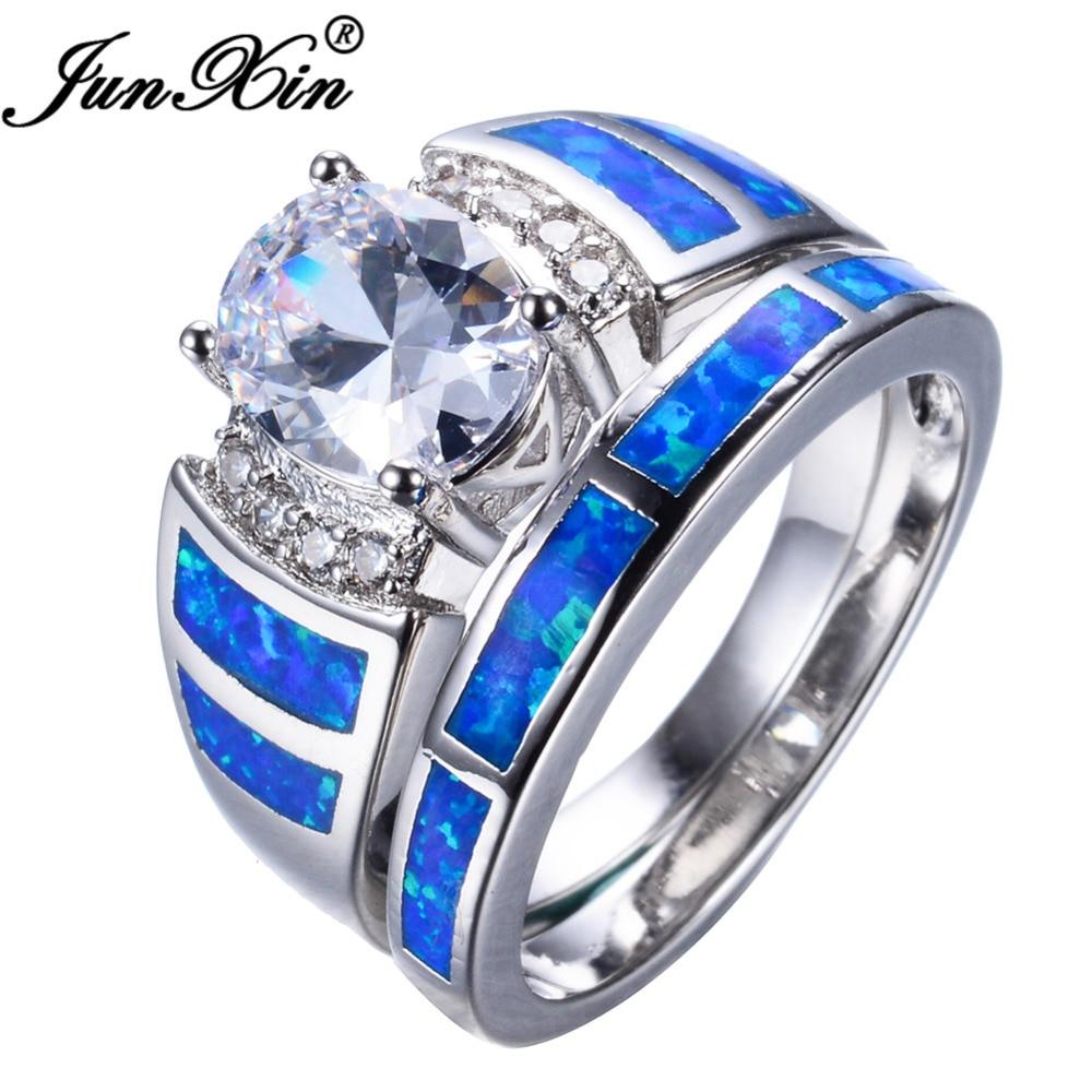 JUNXIN Mystic Blue Fire Opal Ring Sets For Women Men White