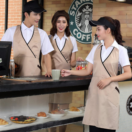 Hotel Work Clothes Autumn Winter Clothing Front Desk Fast Food Western Restaurant Waiter Long Sleeve Coffee Pot Shop Apron