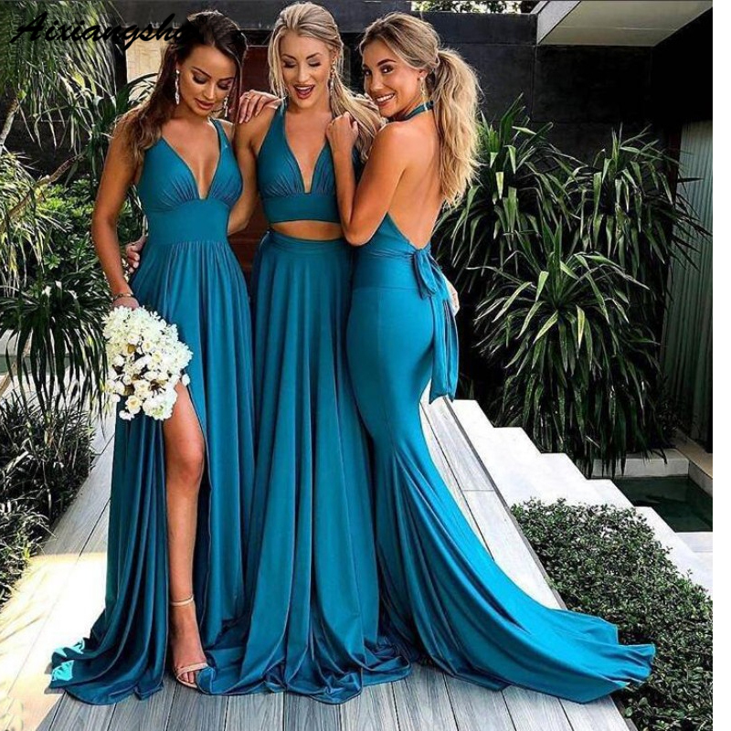 Turquoise Blue Side Slit A line Bridesmaid Dresses 2019 Long Sexy Backless Wedding Party Dress V Neck vestidos de fiesta de noc