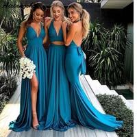 Turquoise Blue Side Slit A line Bridesmaid Dresses Long Sexy Backless Wedding Party Dress V Neck vestidos de fiesta de noc