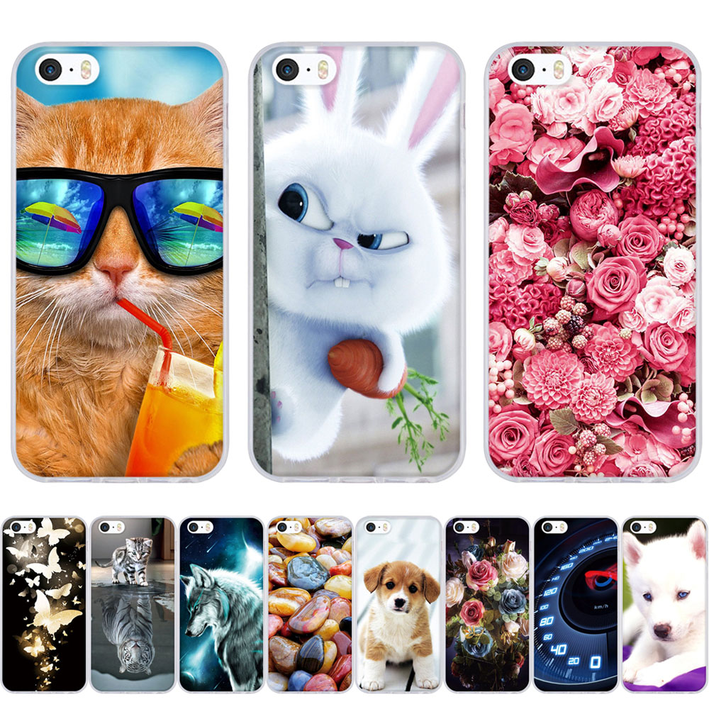 For iPhone 5 Case 3D Pattern Cute Capa For iPhone 5S Case Silicon TPU Cover For iPhone SE Case For iPhone 5 5S SE Phone Cases