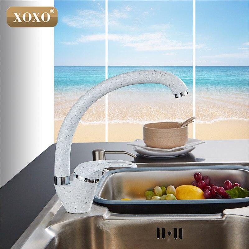 XOXO Style Moderne Maison multicolore Cuivre Robinet de Cuisine D'eau Froide et D'eau Chaude Robinet Simple Poignée Noir Blanc Kaki 3309BE - 4