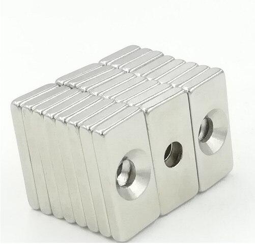 500pcs 20x10x3 Super Strong Countersunk Block Rare Earth Neodymium Magnets 20 x 10 x 3 mm