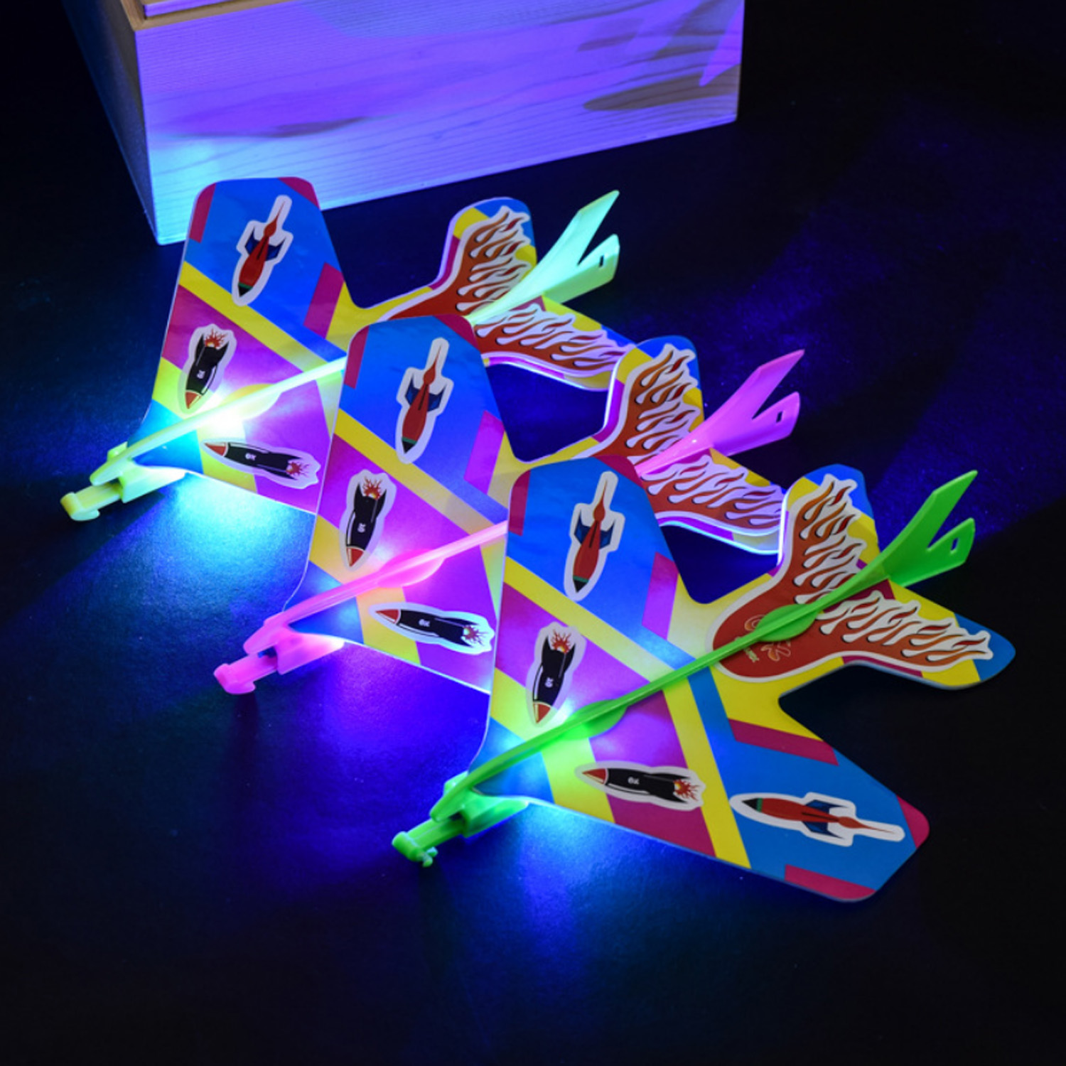 Cute Light Plane DIY Flash Ejection Slingshot Aircraft Toys for Kids Children Gifts Party Favor Supplies