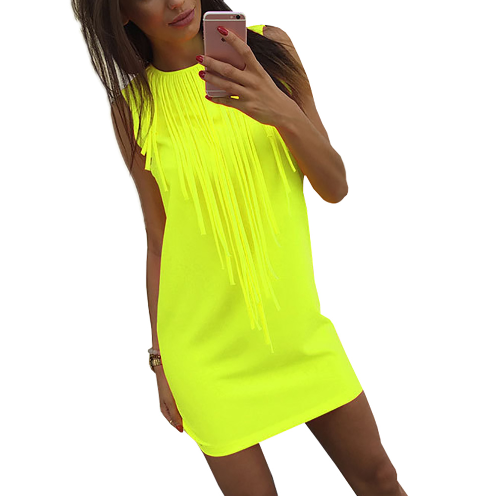 2018 New 3 Color Summer Dress Fashion Sleeveless Evening Party Vestidos Tassel Dress XL Plus Size Women Clothing