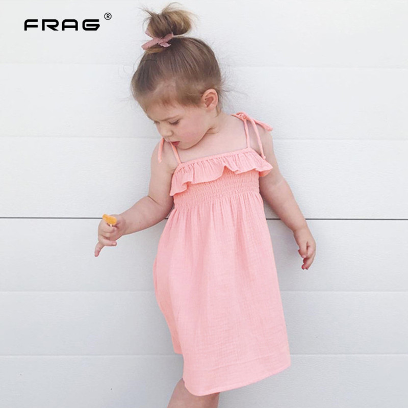 New Baby Girls Sling Dresses Summer Cotton Dress Girls Bohemian Princess Party Beach Dress Baby Girl Clothes 1 2 3 4 Year