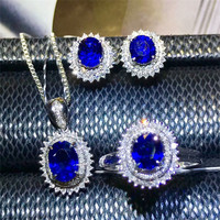 fine jewellery wholesale luxury classic natural gemstone sapphire ring earring pendant necklace 18k gold jewelry set for women