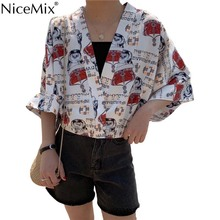 NiceMix Women Tops 2019 Short Lovely Robe Femme Casual Thin Japanese Style Sunscreen Clothes Female Kimono kimono blouse