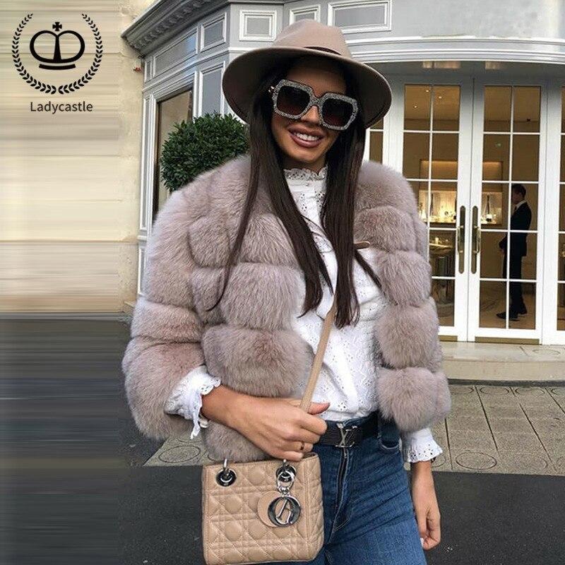 2019 New Real Fox Fur Coat O-Neck Collar Jacket Women Fur Genuine Fox Short Pelt Natural Fox Fur Coat For Women Winter FC-034