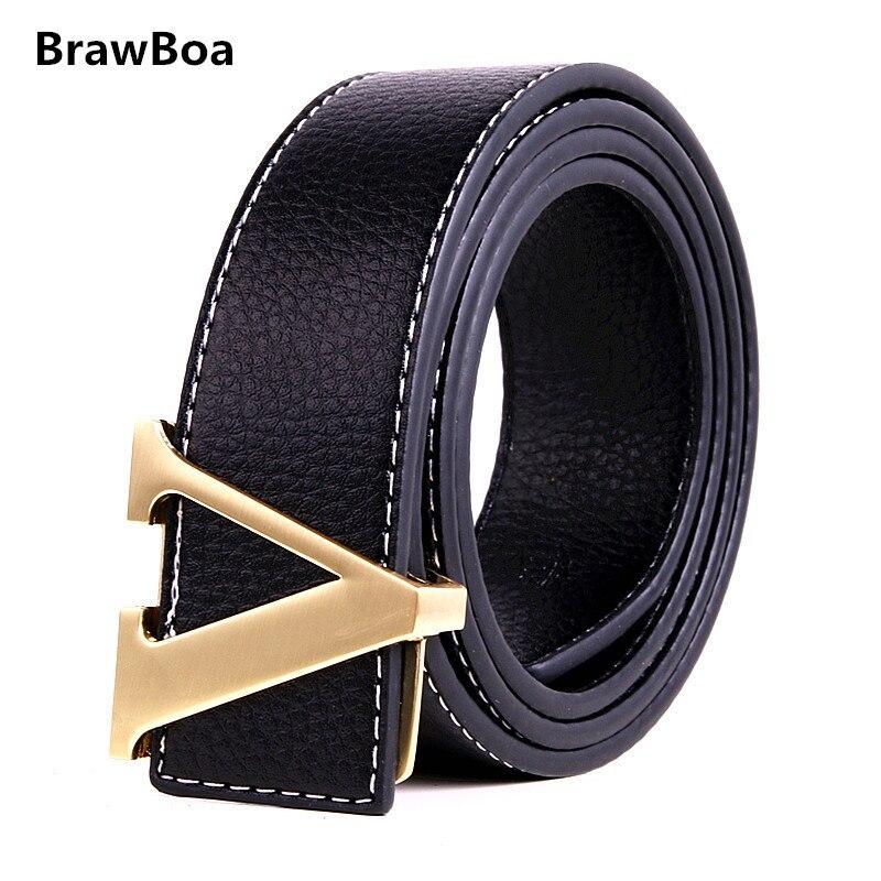 Best Selling High-end Luxury Brand Designer Cow Leather Man V Belt, Ladies Fashion Belt Women Famous Belts Montre Homme