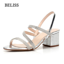 BELISS 2019 Sexy Rome Sandals Women High Square Heels Rhinestone Summer Women Sandals Sip On Cross Tied Female Sandals Shoes S83 все цены