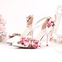 1ea91998b0 Sapatos Adultos Sandálias de Casamento Rosa Sedas Cetins Sapatos De Noiva Apontou  Toe Sapatos de Ultra Saltos Altos Flor Rendas .