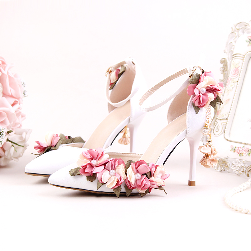 Shoes Adults Sandals Wedding Pink Silks Satins Bridal Shoes Pointed Toe Ultra High Heels Lace Flower Pearl Formal Dress Shoes