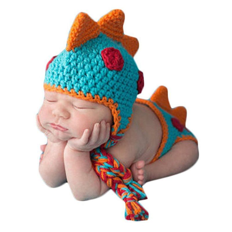 Baby Crochet Knitted Photo Photography Props Handmade Baby Hat Diaper Outfit