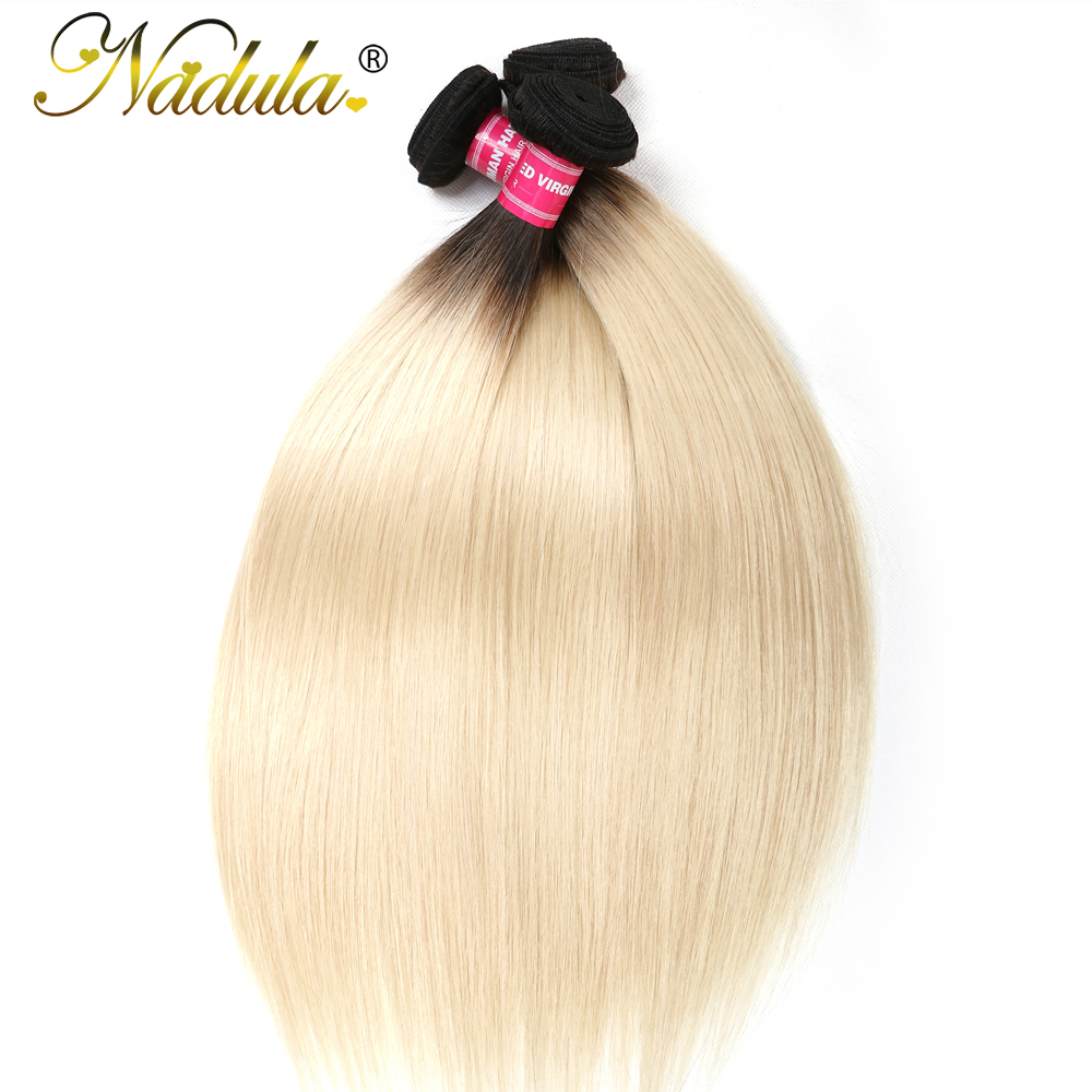 Nadula Hair Weaves Straight Hair 4 3 Bundles Human Hair Weaves 1B 613 Two Tone Ombre