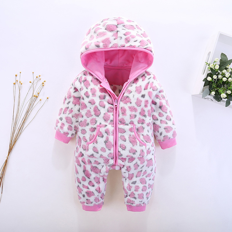 2017 Winter Flannel Baby Rompers Long Sleeves Hooded Infant Coveralls Newborn Baby Boy Girl Clothes Keep