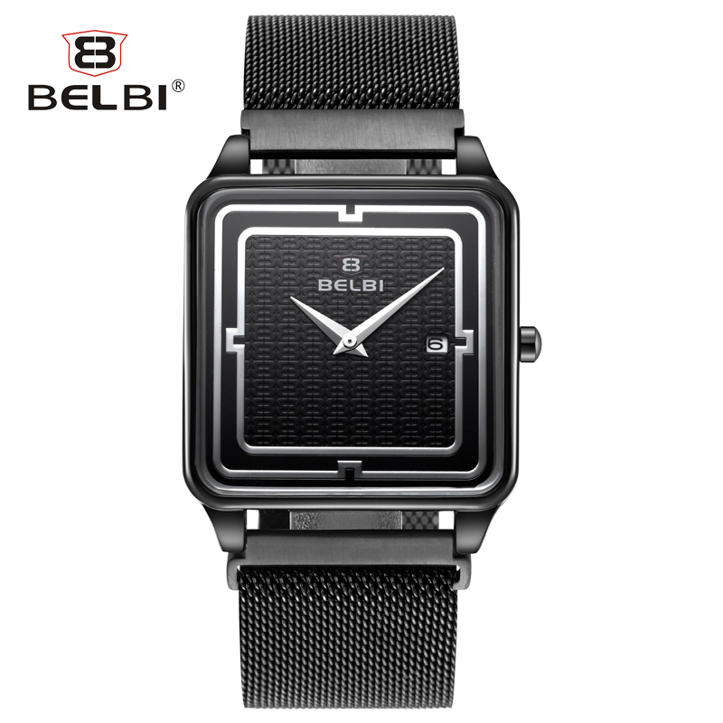 BELBI Stainless Steel Quartz Men Watch Top Brand Luxury Wristwatch Fashion Casual Boutique Black Watches Relojes belbi watches men luxury top brand new fashion leisure men s watches quartz watch male wristwatch waterproof relogio masculine