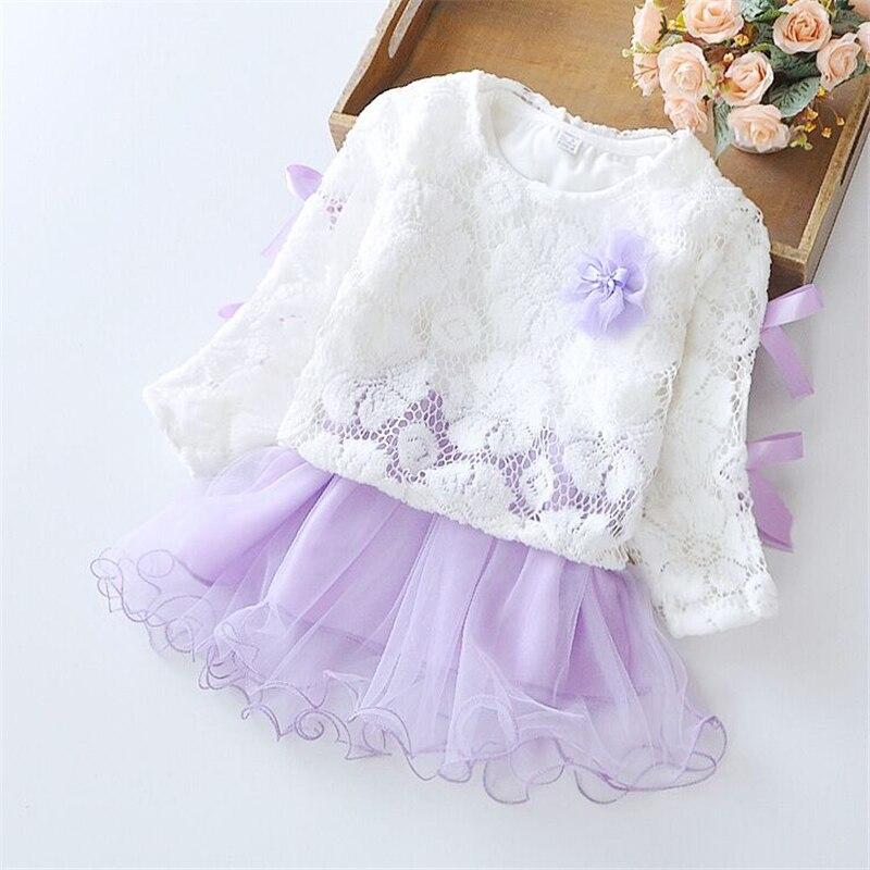 spring Autumn winter Mesh long sleeve Hollow lace Girls Dress Baby Girl Princess Dress Fashion flower Decoration Party Chlidren