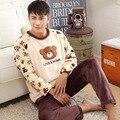 Conjuntos de homens de pijama coral inverno fleece sleepwear masculino plus size grosso adolescente-manga longa set lounge