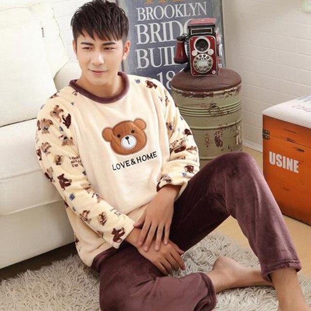 Pajama sets men winter coral fleece sleepwear male thick plus size teenage long-sleeve lounge set