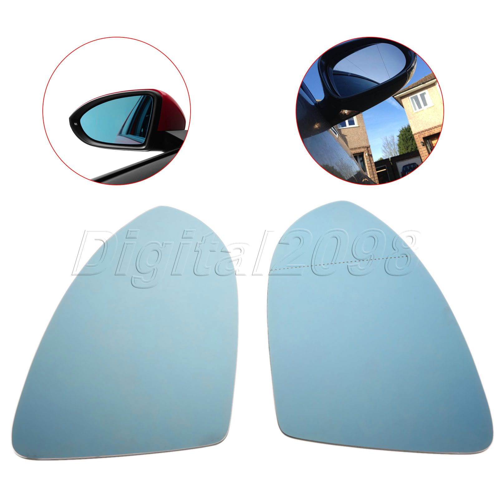 2Pcs Heated Door Wing Mirrors Glass Blue For VW Golf 2013-2016 Mk7 Heated Side Mirror Heating Tinted Rearview Mirror Car-styling for great wall voleex c30 2013 side mirror rearview mirror assembly exterior mirrors 5 wire blue lens