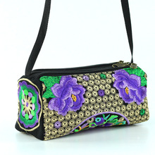 2017 new characteristic Chinese style canvas embroidery peony flowers women shoulder bag embroidered crossbody messenger bags