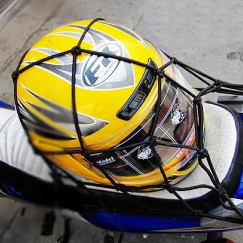 30*30cm Motorcycle Fuel Tank Helmet Net Cargo Luggage Jackets Elastic Mesh Web Bungee with 6 Hooks Black Moto Accessories