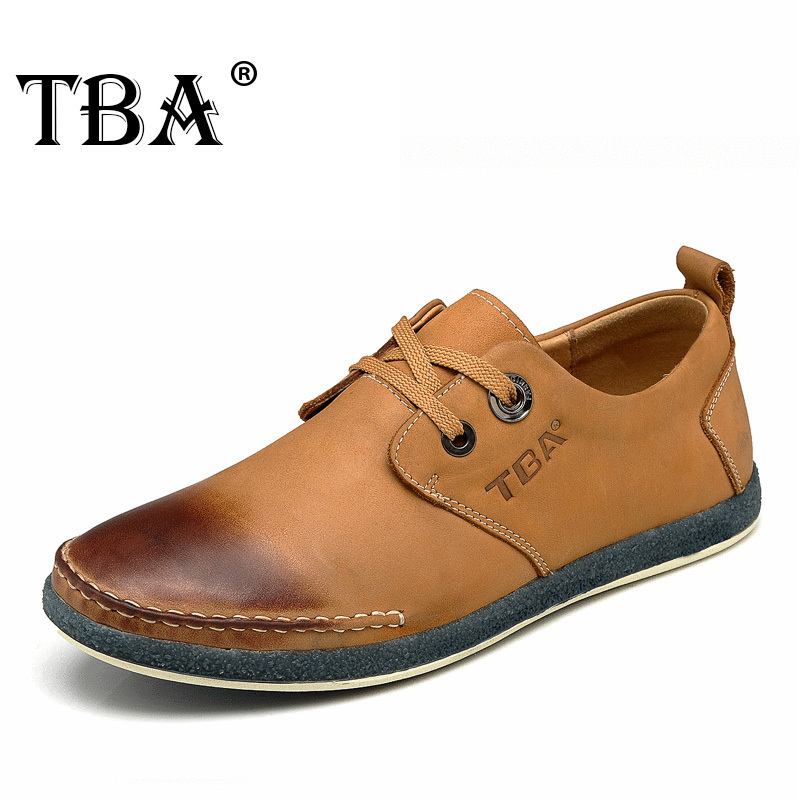 TBA Chinese Brand Men Real Cow Leather Casual Shoes size 39-44 EUR Khaki Green/Beige Colors TBA NO5825 casual waterproof boot silicone shoes cover w reflective tape for men black eur size 44 pair