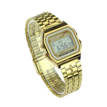 Business golden gold watch Coperation Vintage Womens Men dress watch Stainless Steel Digital Alarm Stopwatch Wrist Watch