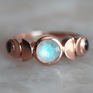 Moon-Cycle-Ring Jewelry Moonstone Celestial Retro Silver-Color Ladies Imitate