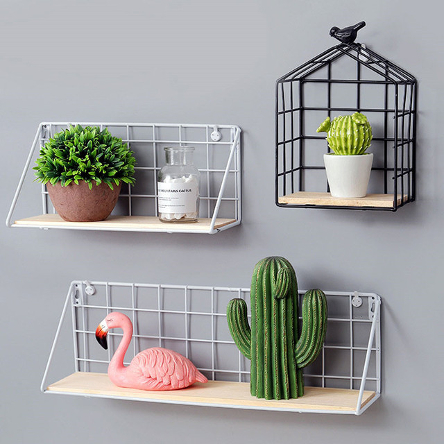 Wooden Iron Kitchen Storage Rack Wall Mounted Home Decor Wall Book Shelf  Cactus Shape Grid Holder