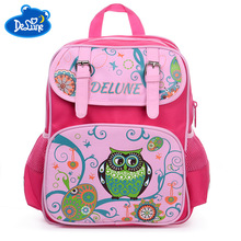 Delune 5-9 Years New School Bags Orthopedic Backpack Satchel Cartoon Owl Mochila Infantil Children for Girls