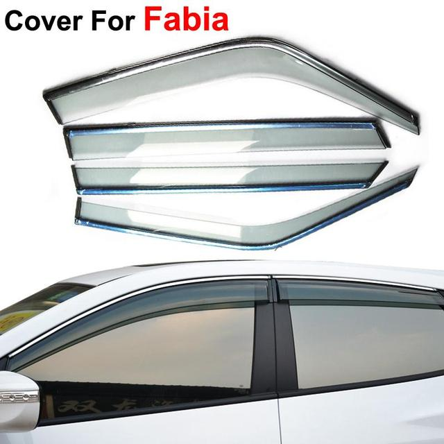 4pcs/lot Car Stylingg Awning Shelters Rain Sun Window Visors For Skoda Fabia 2011 2012 2013 2014 Stickers Accessories Shield