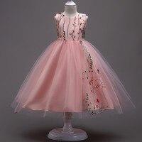 الأطفال الأميرة ثوب sleevelesss الوردي/أبيض/أسود/الأحمر بتلات شبكة الزهور الفتيات اللباس أزياء طفلة الزفاف حزب فساتين