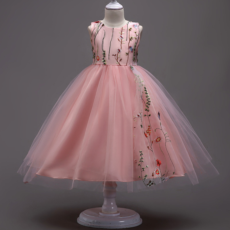 26f5e4d2545e6f Kinderen prinses jurk mouwloos roze   wit   zwart   rood ...