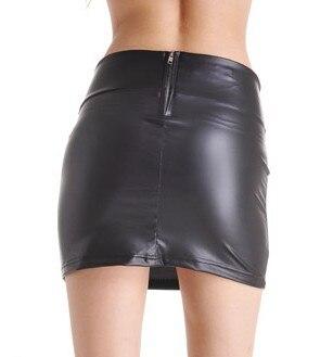 Aliexpress.com : Buy Fashion Black Stretchy Faux Leather A Line ...