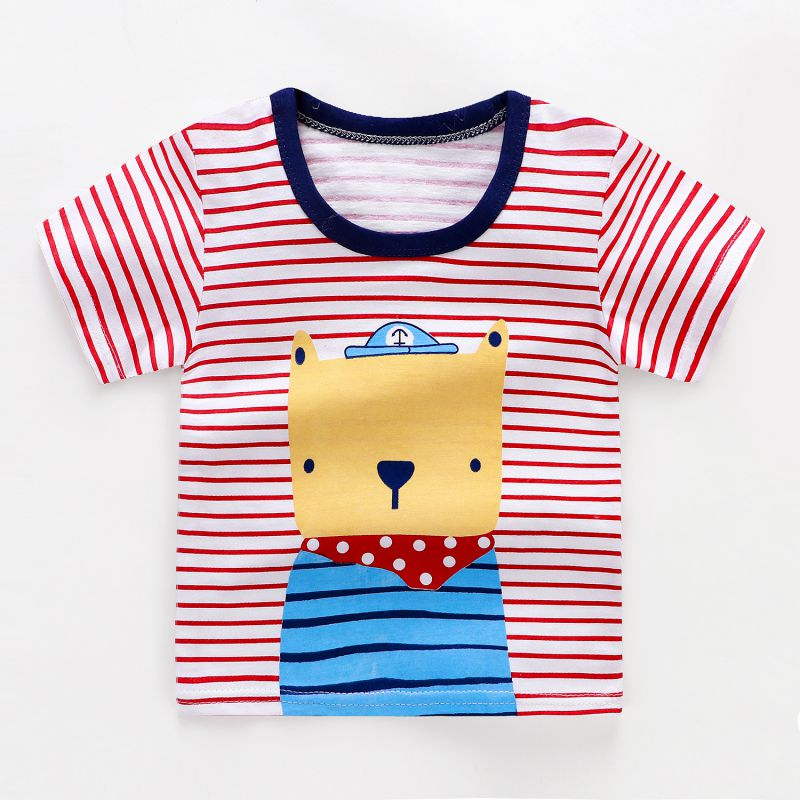 T-Shirt Blouse Toddler Tops Girls Boys Short-Sleeve Print Kids Cotton Cartoon Summer