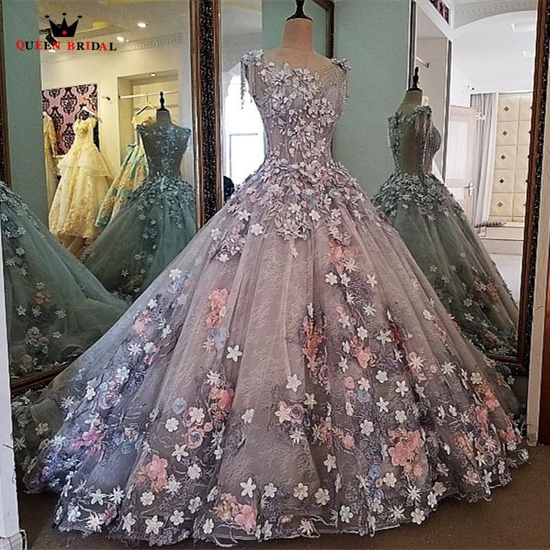 QUEEN BRIDAL Evening Dresses Ball Gown 3D Flowers Fluffy Beaded Long ...