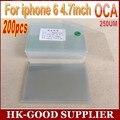 200 unids OCA optical adhesive clear 250um Para iphone6 6 S adhesivo freeshipping HongKong Post/ePacket