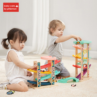 Babycare 4 Rail Slide Model Wooden Ramp Racer Tower Toys Track Ladder with Gliding Car Multi layer Glider Early Educational Toy
