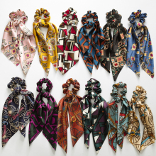 Fashion Floral Print Scrunchie Silk Elastic Hair Band For Women Scarf Bows Rubber Ropes Girls Ties Accessory