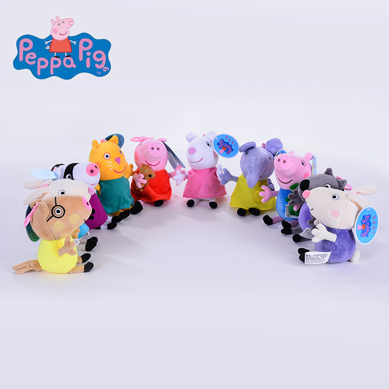 Genuine 1PCS 19CM plush pig toy Peppa pig Classmates high quality hot sale Floss cartoon Animal doll For Children's Gift genuine 1pcs 46cm pink peppa pig plush pig toys high quality hot sale soft stuffed cartoon animal doll for children s gift