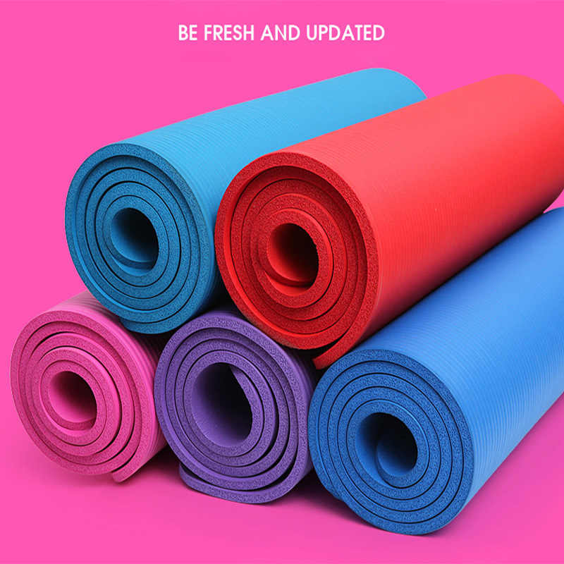 10mm Yoga Mat Fitness Flat Support Pad Beginners Exercise Gymnastics Environmentally Friendly Multi-function NBR Yoga Mat Yapete