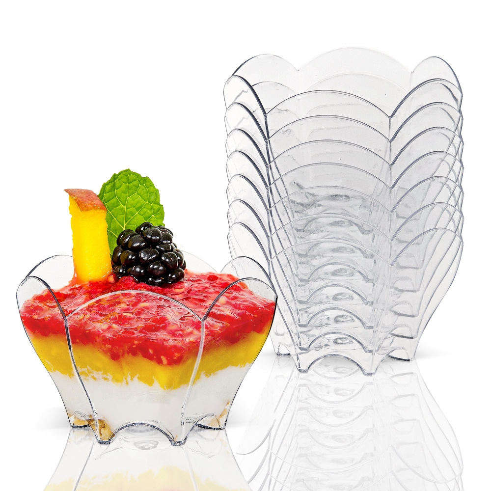 Promotion - <font><b>Party</b></font> Suppliers, Disposable Plastic Tableware, <font><b>70</b></font>*44mm/60ml Black Petal Dessert Cake Bowl, 20/Pack image