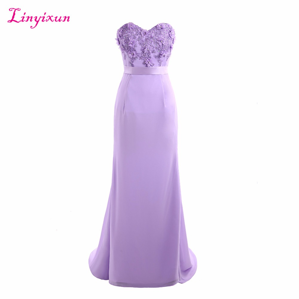 Linyixun Real Photo Sexy Zipper Appliques Mermaid Lace Long   Prom     Dresses   2017 Light Purple Evening   Dress   Vestido de Festa Longo