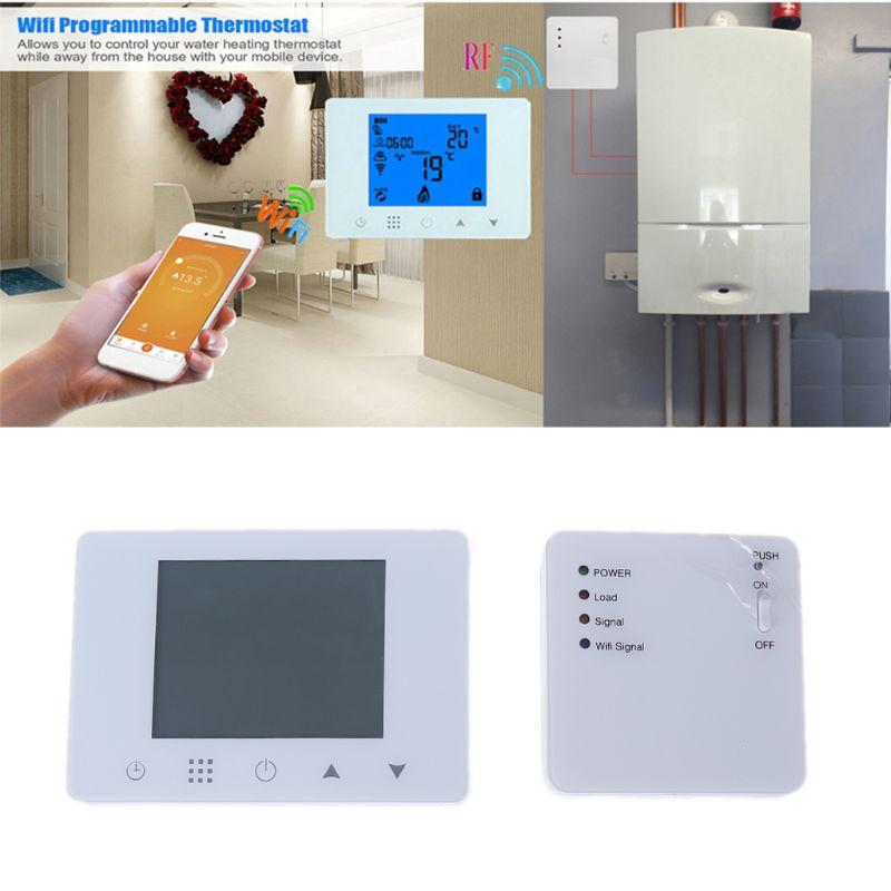 Nieuwe WiFi & RF Draadloze Kamerthermostaat Wall hung Gas Boiler Verwarming Afstandsbediening Temperatuurregelaar Wekelijkse Programmeerbare-in Temperatuurmeters van Huis & Tuin op  Groep 1