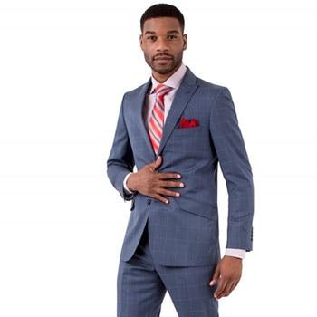 Blue Premium Slim Fit men suit Peaked Lapel Groom Wear tuxedos for men Man Tuxedos Formal Party Mens Suits Custom Made 2017
